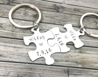 Wife Keychains, Wedding Date, LGBT Gift, gay wedding Gift, Lesbian Wedding Gift, Couples Wedding Date, Puzzle keychains with wedding date