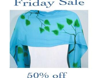 """Handpainted silk scarf. Friday Sale. Leaf Silk Scarf. 15""""x58""""crepe. hand-painted silk scarves. handpainted silk scarf. OOAK"""