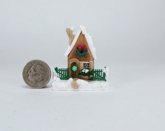 Handcrafted Miniature Christmas Fairy House OOAK by O'Dare