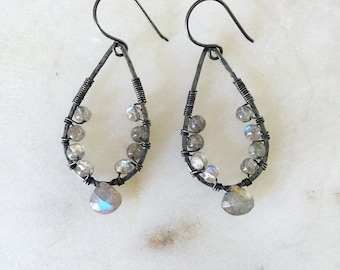 SALE Labradorite Earrings // Wire Wrapped Gemstone, Oxidized Sterling Silver, Tear Drop Hoop, Hammered, Gunmetal, Mineral Rock