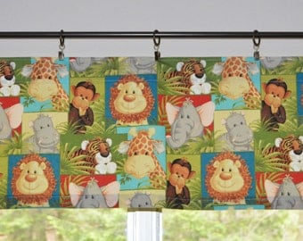Jungle Animal Babies . Kids Valance . Children's Curtains and Valance .  LIGHTWEIGHT Cotton . Handmade by Pretty Little Valances
