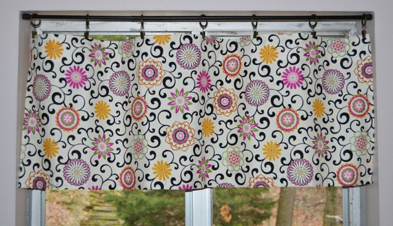 Kitchen Valance Pom Pom Play Black By Waverly Lightweight