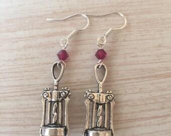 Wine earring, corkscrew earrings, silver wine corkscrew earrings, wine lovers gift, whimsical gifts