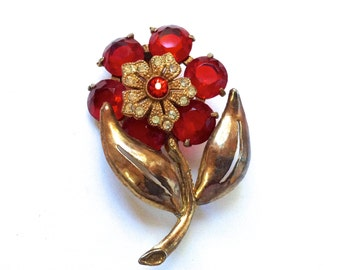 Red Rhinestone Trember Flower Brooch Antique Vermeil Collectible Bouquet 1930's Figural Fashion Jewelry