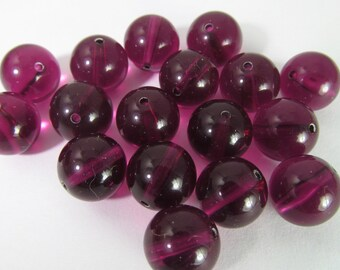 40 Vintage 10mm Transparent Grape Lucite Beads Bd1861