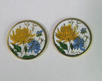 4 Vintage Golden Yellow and Blue Flower Enamel Cabochon Finding Cb101