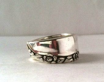 Spoon Ring, Size 7, Floral