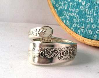 Wrapped Spoon Ring, Size 7, Floral, Upcycled Eco Friendly Ring
