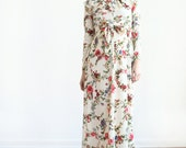 floral boho ruffle neckline ivory flowing long maxi dress
