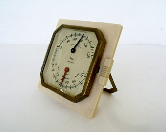 Thermometer Taylor Art Deco Bakelite Temperature Humidity USA Humidiguide Brass