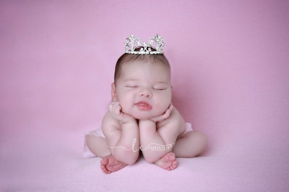 Silver Vintage Baby Crown, newborn, maternity, baby crown, tiara, Austrian Crystals, bebe by Lil Miss Sweet Pea