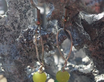 Yellow and jade earrings
