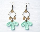 Gold and Mint Lace Earrings