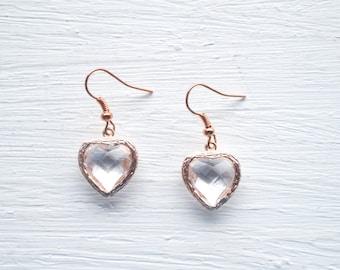Light Pink Glass Stone Heart Rose Gold Drop Earrings