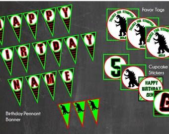 Godzilla Birthday Party Pack. Godzilla Party. Godzilla Invite. Godzilla Invitation. Dinosaur Party. Dinosaur Invite. Godzilla Banner.