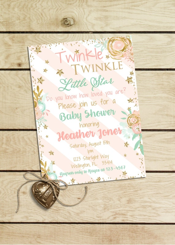 twinkle twinkle baby shower invitation pink and gold glitter little star baby shower invitation twinkle baby shower invitation