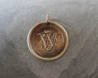 Wax Seal Charm Initial W - wax seal jewelry pendant alphabet charms Letter W by RQP Studio
