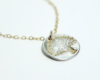 Small Tree of Life Necklace, Two Tone Medallion, Tiny Tree Pendant, Silver and Gold Necklace, Nature Necklace, Sterling Silver, Goldfilled