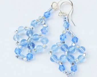 SKY BLUE- Handwoven Beaded Earrings-  Seed Beads, Czech Beads, and Sparkling Crystals- Silver Plated Earwires