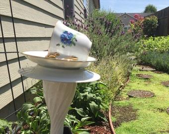 Cornflower, Batchelor Button Garden Bird Feeder, Glass Garden Bird Feeder,Blue Tea Cup Bird Feeder, Recycled Tea Cup
