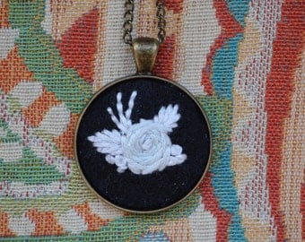 White Rose Embroidery Necklace