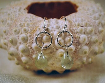 Water Circle Prehnite Sterling Silver Earrings