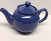 Tea Pot Blue individual pottery unmarked 1970's vintage