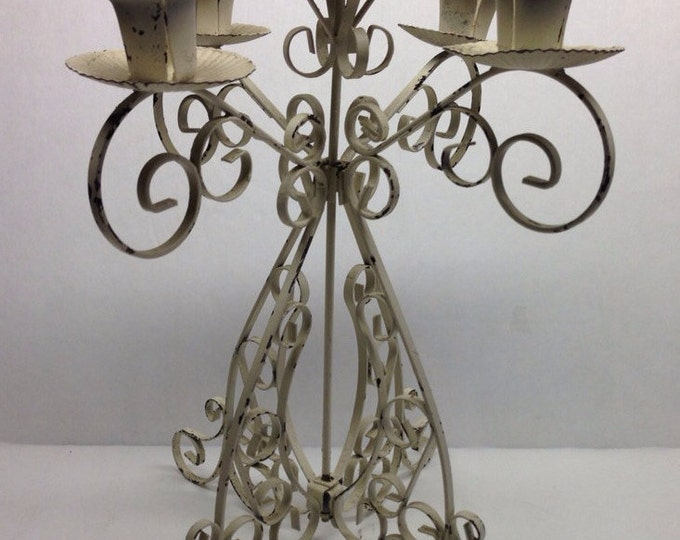 Featured listing image: Wrought Iron, White Candelabra ,Candle Holder, 1950 Mid Century, White Candelabra, 5 spot Candelabra, Vintage Home Decor, Mid Century Candle