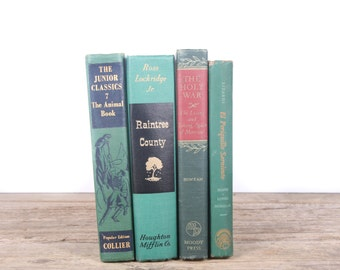 Green Books / Old Books Vintage Books / Dark Green Decorative Books / Antique Books Vintage Mixed Book Set / Books by Color Books for Decor