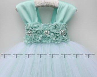 Aqua Flower Girl Dress With Cap Sleeves