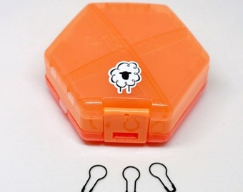 Notions Accessory Stitch Marker Case - Storage for Knitters and Crocheters - {ornery orange}