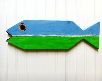 Fish Sign - Kids Nautical Decor - Blue and Green Fish - Beach Decor - Nautical Nursery