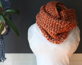 Crochet Cowl,Cowl Scarf,Knit Cowl,Loop Scarf,Chunky Knit,Crochet Scarf,Knit Scarf,Neck Scarf,Neck Warmer,Neck Wrap,Orange,Brown,Gift,Soft