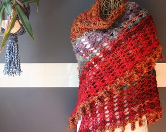 Crochet Triangle Shawl,Knit Shawl,Handmade Wrap,Shrug,Bolero,Cape,Womens Clothing,One Size,Red,Orange,Purple,