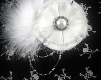 White Bridal Flower Hairpiece - Bridal Fascinator - Flower Hair Clip - Snow Queen Hair Clip - White Gothic Hair Clip