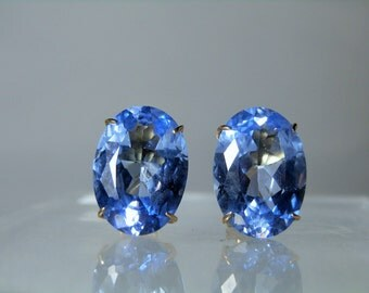 Vintage Synthetic Blue Spinel 14k Yellow Gold Earrings Clip On Style 18 x 13 mm Faceted Spinel Gemstones Estate Jewelry Gift Idea
