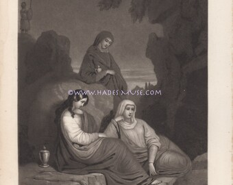 Mary's At Tomb-Death Of Jesus Christ-1848 Antique Vintage Art Print-Goth-Decor-Picture-Bible-Magdalene-Mother Of Sorrows-Mourning-Sepulcher