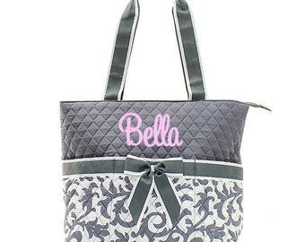 Monogrammed Diaper Bags Personalized Quilted Grey Damask Diaper Bag Damask Diaper Bag Monogrammed Diaper Bag 3 Piece Quilted Diaper Bag Set