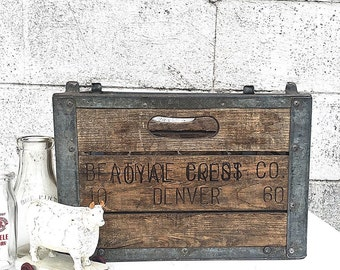 MILK CRATE | Industrial Wood and Metal Milk Crate | Galvanized Metal | Wooden Divided Dairy Crate |Vintage 1960s Milk Crate | Storage