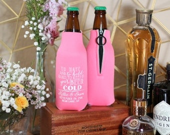 Zippered Bottle, To Have and To Hold, Engagement, Beer Bottle, Keep Your Beer Cold, Couples Shower, Weddings, Party Favors, Zippered, 1536