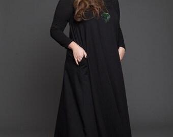 winter sale Plus size Black maxi dress - women large long sleeves maxi dress - oversize black winter maxi dress - over size black dress - ca