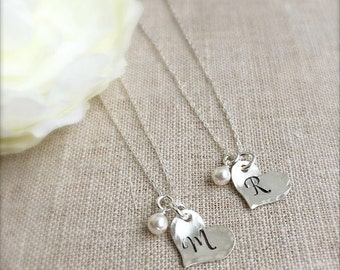 Initial Necklace . Personalized Jewelry . Bridesmaid Necklace . Initial Heart . Handmade jewelry . Engraved initial .
