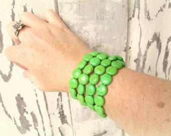 Apple Green Turquoise Bracelet. Four Strand Green Bracelet.Green Beaded Bracelet.Green Chunky Bracelet. Green Jewelry. Green Beaded Bracelet