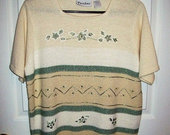 Vintage Ladies Off White Striped Floral Sweater by Tanjay Large Only 6 USD