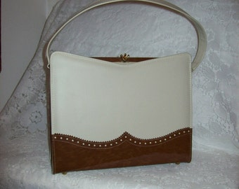 Vintage 1960s Ladies Cream & Brown Spectator Purse by Naturalizer Only 22 USD