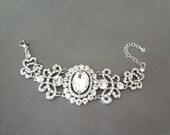 Crystal  bracelet ~ Brides bracelet ~ Wedding bracelet ~ Victorian, Vintage style bracelet ~ Statement bracelet ~ Jewelry ~ ANGELINA