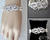 Pearl bracelet ~ Swarovski pearl bracelet ~ Cubic Zirconias ~ Brides bracelet ~ Cuff ~ Wedding bracelet  ~ High quality ~ STUNNING ~ LILLY