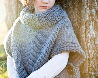 Pullover, Knit, Sweater, Poncho, Chunky Sweater, (Toddler, Child, Adult Sizing) MADE TO ORDER