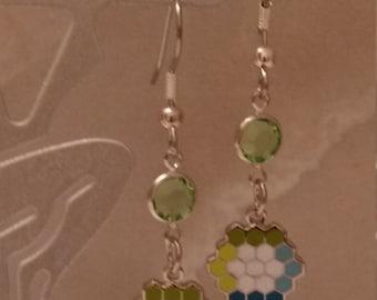 Quilter's Earrings Enameled Cloisonne HEXIE FLOWER GARDEN Quilt Block with Swarovski Bling!