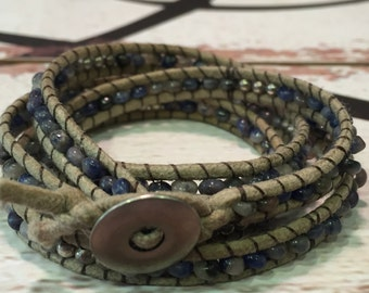 Summer Wrap Bracelet in Blue Sodalite